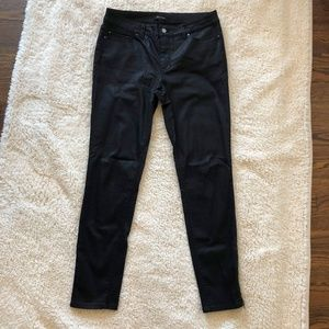 WHBM Black Coated Ankle Zip Skinny Jeans Sz 10 EUC